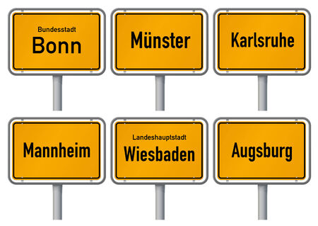 karlsruhe: City limits signs of major german cities, Part 4  Vector illustration of city limits signs of six big cities in Germany - Bonn, Manster, Karlsruhe, Mannheim, Wiesbaden, Augsburg - with realistic shading and official typeface and proportions