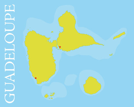 archipelago: Vector map of the archipelago and french department of Guadeloupe, Caribbean Sea  Easily editable with global color swatches and object layers