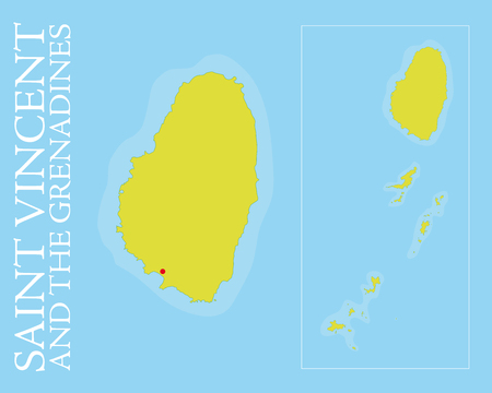 windward: Vector map of Saint Vincent and the Grenadines archipelago in the Caribbean Sea  Easily editable with global color swatches and object layers