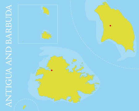 john: Vector map of Antigua and Barbuda archipelago in the Caribbean Sea  Easily editable with global color swatches and object layers