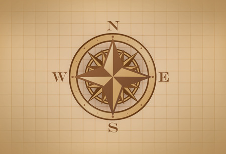 Compass Rose on grid, vintage style
