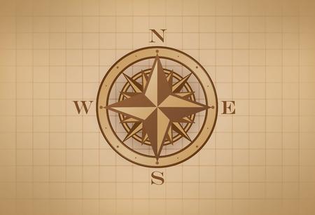 rosa dei venti: Compass Rose sulla griglia, stile vintage