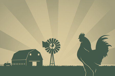 American Farming Background Silhouettes of tractor, barn, wind mill, meadow and rooster in sunrise
