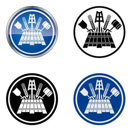 Pivovarnickou Tradiční řemeslníci s Guild Vector Symbol, čtyři varianty