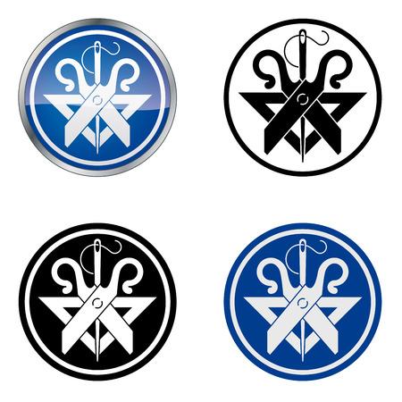 craftsmen: Tailor tradizionale Artigiani s Guild Vector Symbol, quattro varianti