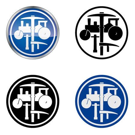 steamroller: Plasterer and Roadworker  Traditional Craftsmen s Guild Vector Symbol