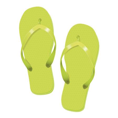 Green Flip Flops Summer Vacation Vector Illustration Vector