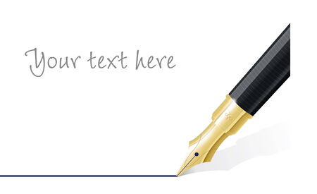 Close up of fountain pen drawing straight line  Space for text  Vector Illustration