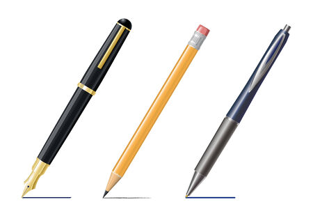 fountain pen writing: Fountain Pen, Pencil and Ballpoint-Pen Drawing Lines