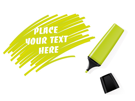акцент: Реалистичная зеленый фломастер вектор маркер с исписанной пространством для текста Иллюстрация