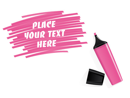 Realistic pink felt tip marker vector with scribbled space for text Stock Vector - 29437142