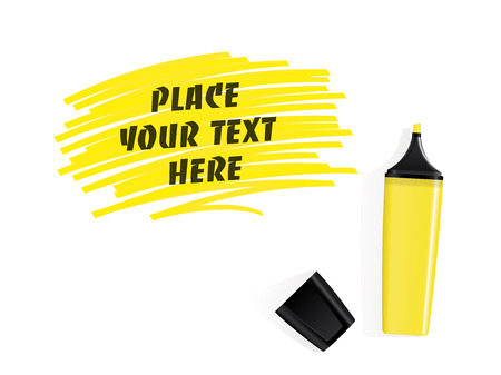 felt tip: Realistic yellow felt tip marker vector with scribbled space for text