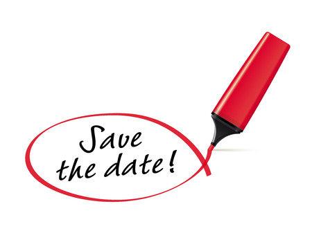Save the date - text marker with squiggle Vector