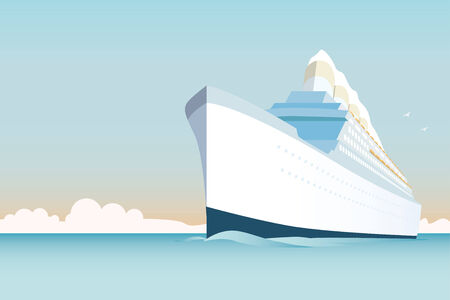 cruise ship: Retro styled white cruise ship on the ocean