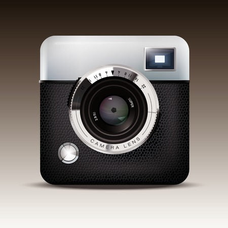 Detailed Vector Icon of Retro Viewfinder Camera Vector