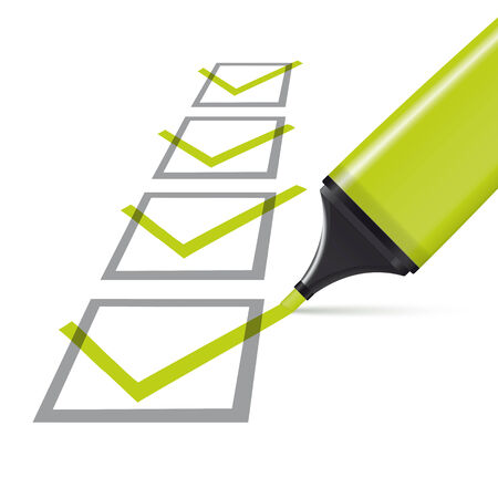 check box: four checked boxes and green highlighter Illustration
