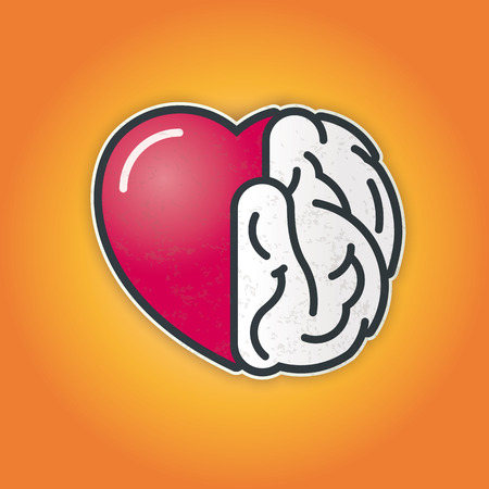 Connection of Heart and Brain Illustration