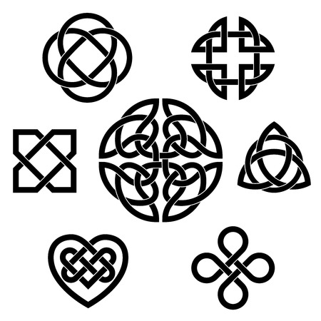 irish symbols: Set of seven traditional celtic infinity knot vector elements Illustration