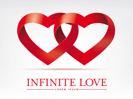 infinite ribbon intertwined hearts vector design element Vector