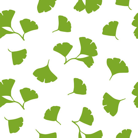 Seamless background with green Ginkgo Biloba Leaves on white background