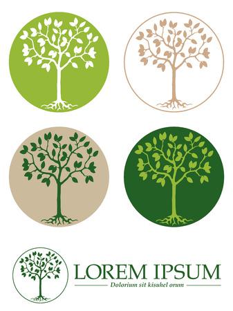 arbol raices: Árbol con raíces en la plantilla de diseño del círculo, cinco variaciones Vectores