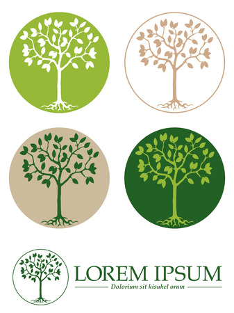 tree roots: Tree with roots in circle design template, five variations