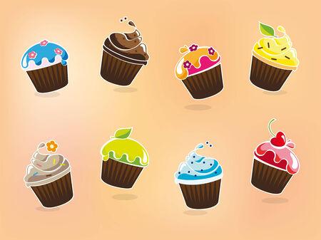様々 なフレーバーで漫画カップケーキのベクトル イラスト 写真素材 - 29437344