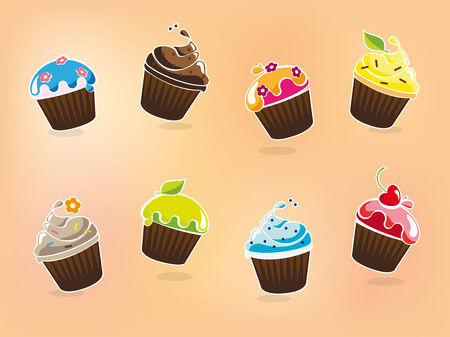 Vector illustration of cartoon cupcakes in various flavors Vector