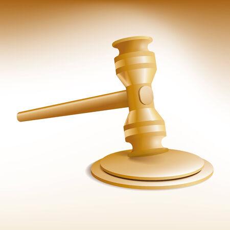 vector Illustration of auction gavel and stand Ilustração