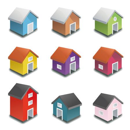 diminuto: Casas Diminuto vector icono de la colecci�n