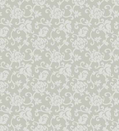 Floral ornament seamless vector background, grey Vector