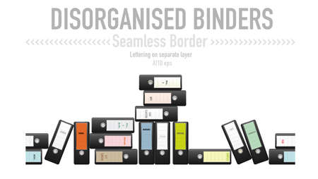 unorganized: Seamless border from disorganized black binders with a variety of labels  Lettering on separate layer