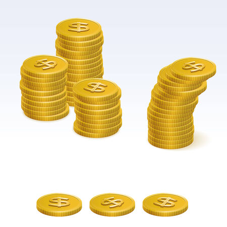 coin stack: Gold dollar Coin Stack Vector Icons