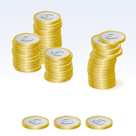 coin stack: Euro Coin Stack Vector Icons Illustration