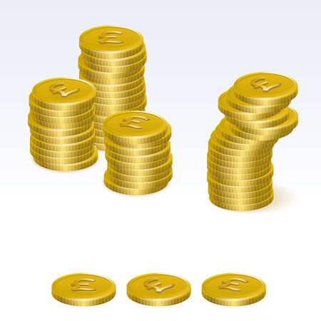 coin stack: British Pound Sterling Coin Stack Vector Icons