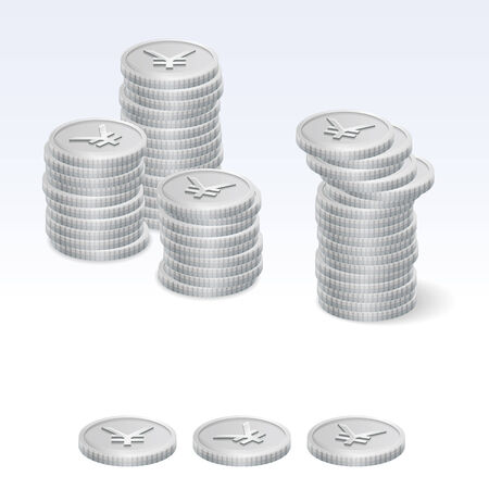 coin stack: Japanese Yen Coin Stack Vector Icons