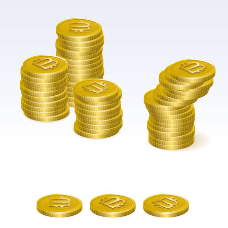 coin stack: Bitcoin Coin Stack Vector Icons Illustration