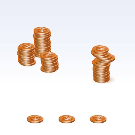 coin stack: Cent Coin Stack Vector Icons
