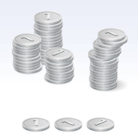 coin stack: Silver Coin Stack Vector Icons