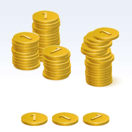 coin stack: Golden Coin Stack Vector Icons