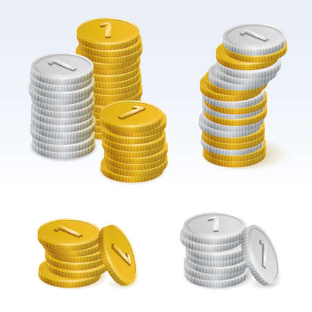 coin stack: Gold and Silver Coin Stack Vector Icons