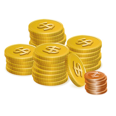 coin stack: Dollar and Cent Coin Stack Vector Icons