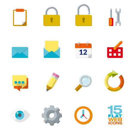 aplication: Flat Design Icon Set of 15 web and office elements Illustration