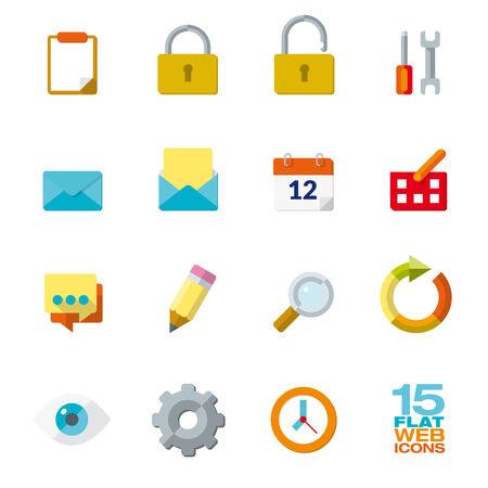 aplication: Flat Design Icon Set of 15 web and office elements Illustration