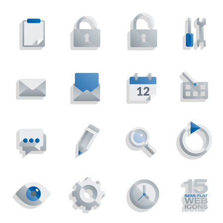 Semi flat web icons set, 15 vector design elements isolated on white Vector