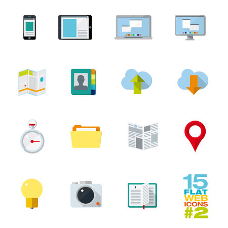 fifteen: Collection of fifteen flat design icons in vector format for use in web, mobile applications, communications, print  Illustration