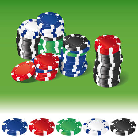 Stacks of various poker chips on green background and single chips isolated on white Vector