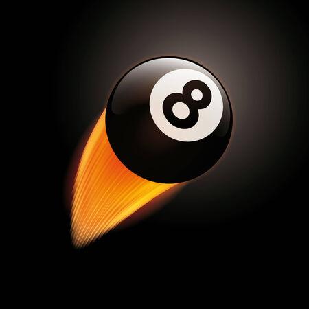 bola ocho: Ilustraci�n del vector de la flamante billard ocho bolas de vuelo de una curva Vectores