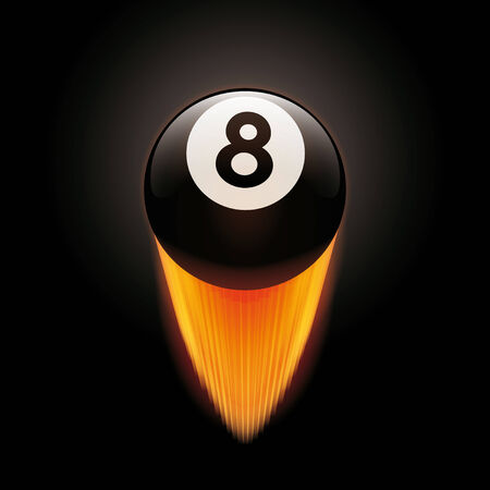 eight ball: Vector Illustration of flaming billard eight ball flying upward Illustration