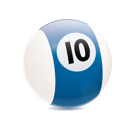 cue sports: Detailed vector illustration of blue number 10 cue sports ball isolated on white